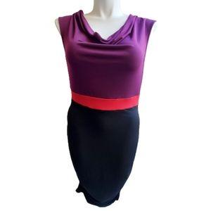 Miss Tina Purple Red Black Sleeveless Dress
